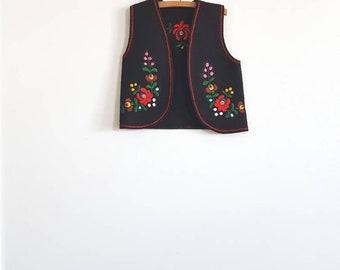 Vintage Black Embroidered Vest