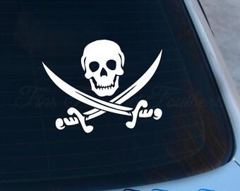 Pirate Skull Decal - Skull Sticker - Jolly Roger - Pirate - Skull and Crossbones - Macbook - Car Decal