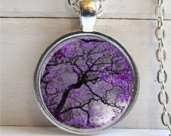 Tree Pendant, Photo Pendant, Tree Necklace, Lavender Twilight Tree Charm