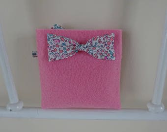Sweets square liberty bow and pink felt pouch