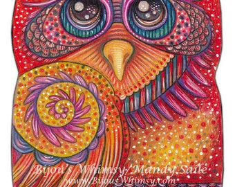 """Owlette OPHIRA - an 8 x 10"""" ART PRINT of a sweet bright pink and warm sunset yellow owl whose abit shy but perfect for lovers of whimsy"""