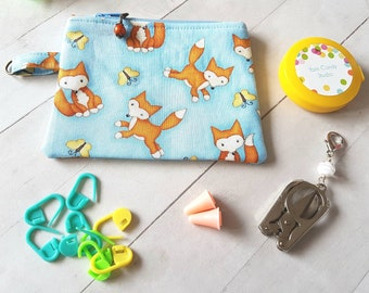 Mini Fox Theme Notion Pouch -Accessory for Crochet and Knit -coin purse