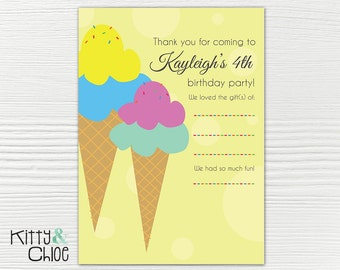 Ice Cream Party Thank You Cards, 5x7 or 6x9