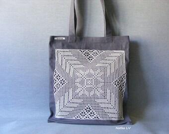 Tote bag, shopping bag, gray eco bag, summer bag with crochet applique, grocery bag, linen bag, handmade canvas bag, market bag, beach bag