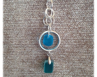 Double sea glass and hoop necklace