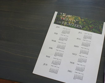 2018 Printable Desk Calendar- Leaf Print