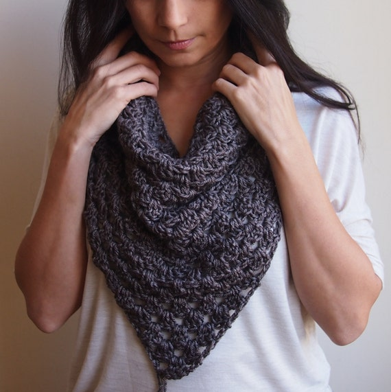 Crochet Pattern Triangle Scarf Granny Cowl Neckwarmer Infinity Loop
