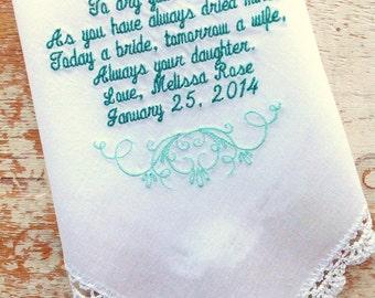 Embroidered Wedding Handkerchief Monogrammed custom handkerchiefs mom wedding handkerchief