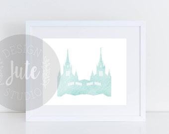San Diego California LDS Temple Printable Art Instant Download Watercolor Print- MINT