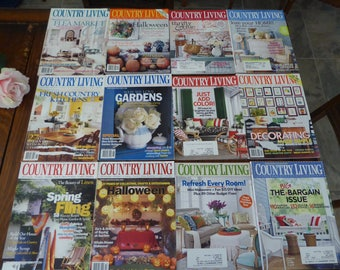 TWELVE Country Living Magazine Mixed Years (Lot ONE), DESTASH Country Living Magazine