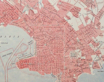 1900 Antique city map of MONTEVIDEO, URUGUAY. 118 years old chart