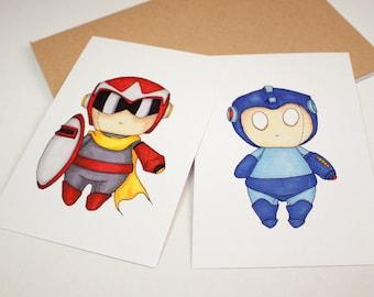 Mini Proto Man & Mega Man Set - 4x6 Print [ Capcom / Fan Art / Chibi ]