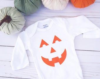 Halloween Onesie, Jack O Lantern Baby Outfit, Pumpkin Onesie, Fall Baby Clothes, Baby Shower Gift, Cute Baby Onesie, Halloween Baby