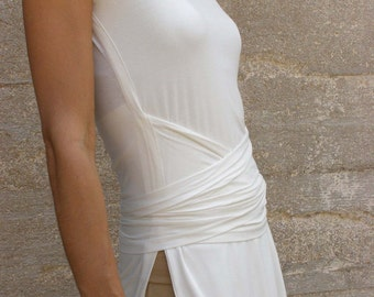 White Wrap Tunic, White Summer Tops, Womens White Blouse, Knee Length Tunic, Side Slit Top, White Tunic Tops, Tunics For Women, Casual Wear