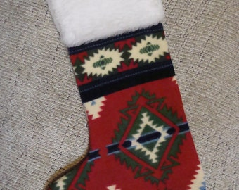 Native American Christmas Stocking - Red and Green