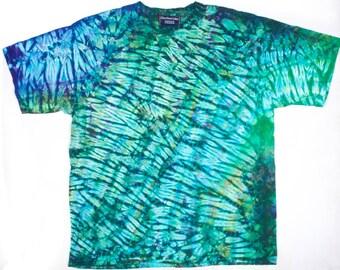 XXL Shibori Dyed Men's T Shirt Stella Green Tie Dye 2X