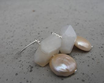 White Botswana Agate and Peach Coin Freshwater Pearls. Sterling Silver Earrings. Gift for Her. Small Earrings. SydneyAustinDesigns