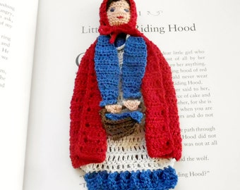 little red riding hood crochet bookmark, unique bookmark, readers gift, valentines day gift, wall decor, fairytale decor, shadow box art