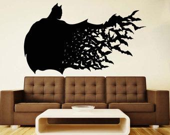 Batman Wall Vinyl Decal Dark Knight Wall Vinyl Sticker Superhero Decals Nursery Decor Home Decor (22bn)