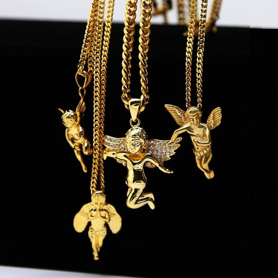 24k gold plated cupid guardian angel cherub angel baby charm iced 24k gold plated cupid guardian angel cherub angel baby charm iced out cz pendant cuban chain hiphop lovers golden micro angel necklace from makecharms on aloadofball Choice Image