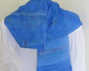 Hand painted silk scarf rowing design hand drawn boats  deep blue shaded 8x54 Canadian design
