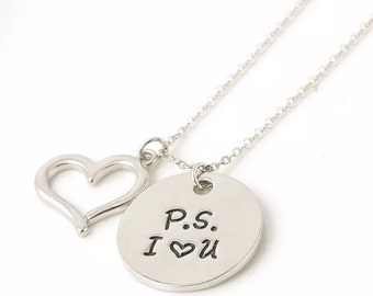 New .925 Hand Stamped PS I Love You Necklace with Heart Pendant