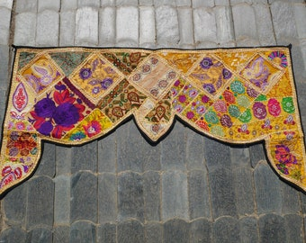Indian toran, door hanging, patchwork valance, bohemian wall decor, hippie decor colorful indian wallhanging, banjara tapestry gypsy curtain