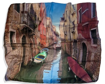 Venice Italy Silk Scarf Canal Europe Travel Photo Printed Souvenir Scarf Rectangle Scarf Mulberry Silk Hand Made in the USA