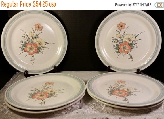 Delayed Shipping Country Glen Sunny Meadows Dinner Plates Vintage Set of 6 Japan Stoneware Dinner Plate Set Holiday Dinnerware Discontinued