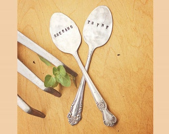 Spoon Herb Markers - Set of Two 2 Labels - Garden Labels - Antique Silver Plated - Hand Stamped - Folk Art - Custom - Vintage - Fun - Art