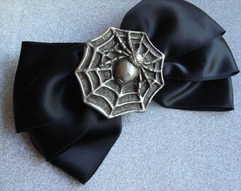Large Black Satin & Pewter Spider Hair Clip ~ OOAK Spooky Hair Accessory