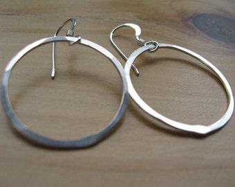 1 Recycling Sterling Silber Schleife Creolen Ohrringe glatt Segeln