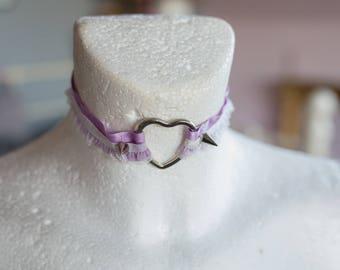 Purple ruffle Choker
