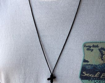 """28"""" cord necklace with twine cross - choose color"""