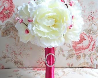 Ivory Peony Wedding Bouquet - Ivory and Cherry Blossom Fuchsia Wedding Bouquet