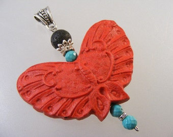 Vintage Carved Cinnabar Butterfly Pendant.... Lot 4602