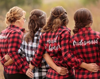 Bridal Party Flannels, Bridesmaid, Maid of Honor, Bride, Red Black and White, Wedding Day Flannel Shirts