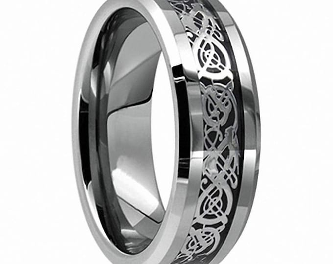 Celtic Ring Personalised Bespoke Ring Availavle in Silver-Blue-Rose Gold-Yellow Gold Tungsten Carbide Welsh Wedding Band 8mm-Comfort fit