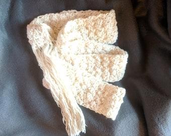 Skinny Scarf, Crochet Fringe Scarf, Free Shipping, Cotton Slim Scarf