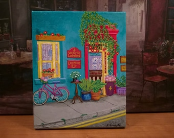 New Orleans Art / Pink Bike / Charming B&B / From my Original Painting Victorian Lodgings / Sidewalks of NOLA / Certificate of Authenticity