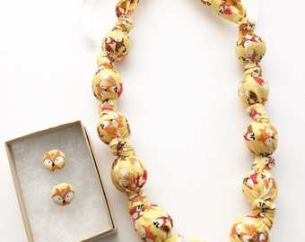 Tiny Foxes Fabric Teething Nursing Necklace by Wee Kings