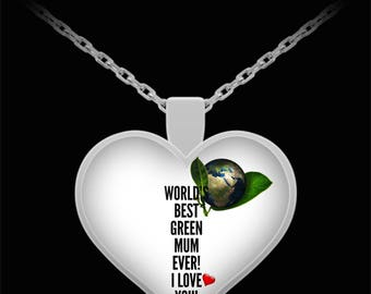 WORLD'S BEST Green Mum! Silver Plated Necklace