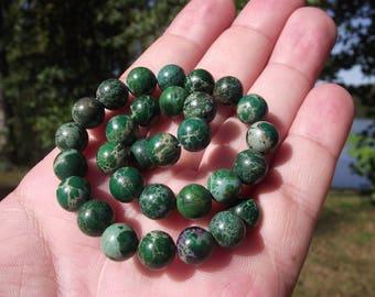 5 Green multi color Jasper beads 8 MM round.