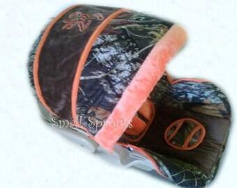 Custom Mossy Oak Camo Breakup with Orange & Chocolate MInky smooth Buck Brown Infant Car Seat Cover 5 piece set