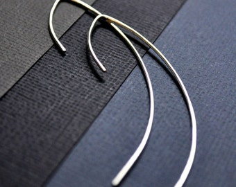 Earrings. Modern Contemporary Simple Sleek Elegant Design. Sterling Silver Jewelry. Handmade by Epheriell on Etsy. Elegance.