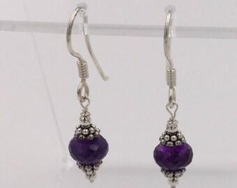 Amethyst Rondelle Earrings Set on Sterling Silver