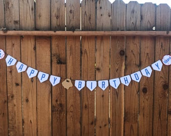 Baseball Birthday Banner, LA Dodgers Themed Birthday Banner