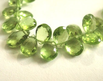 PERIDOT Briolettes, Faceted Pear Brios, Brides -2 MATCHED PAIRS,  August Birthstone,  Wholesale Beads, 6-7mm, 4pc