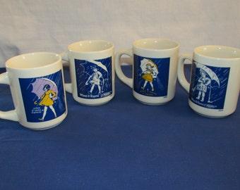 MORTON SALT Coffee Mugs Set of 4 When It Rains, It Pours