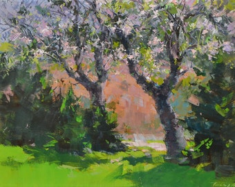 Original artwork, Landscape art tree painting, Spring oil painting, in pink and green, Landscape painting